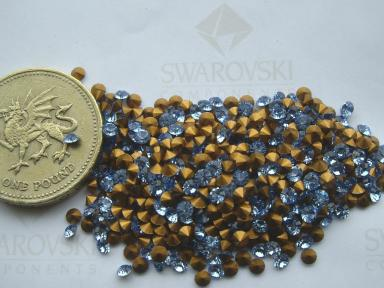 18pp Sapphire gold-foiled #1100 chatons 48 x Swarovski 8ss